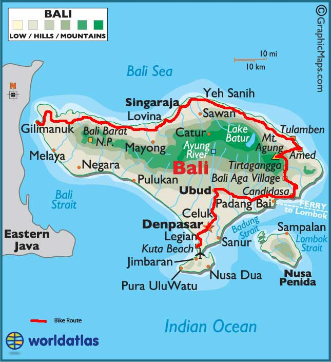 Bicycling Bali-Bali Bicycle Route Map