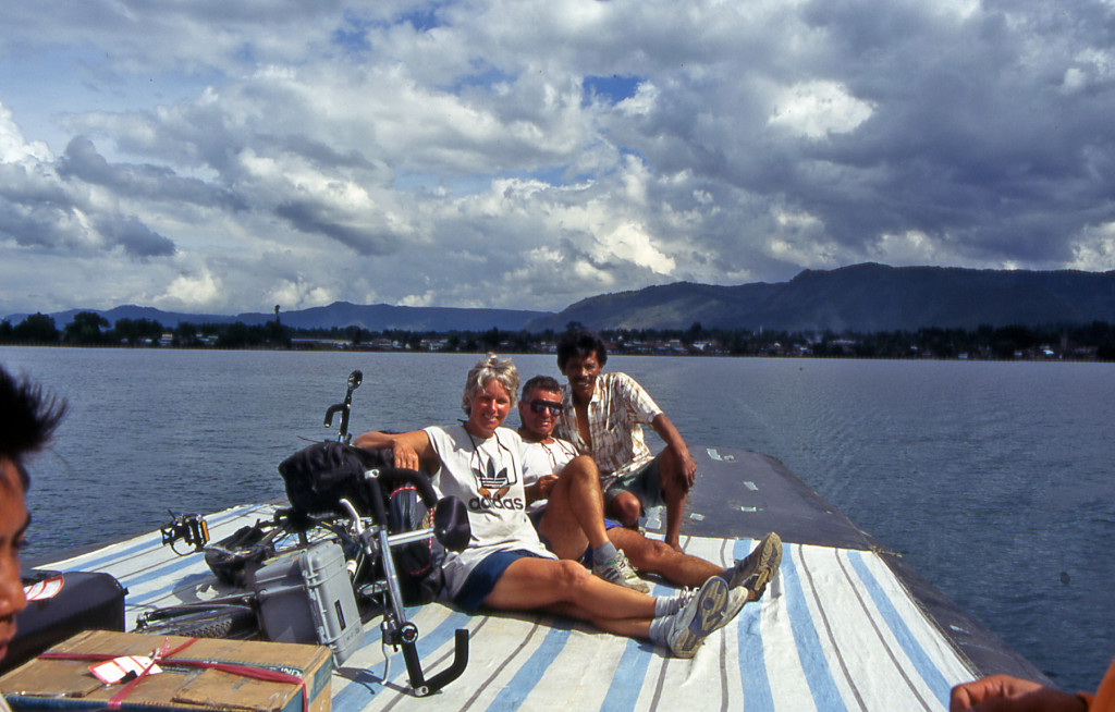 Anne & Mike Poe ferry across Lake Toba Sumatra