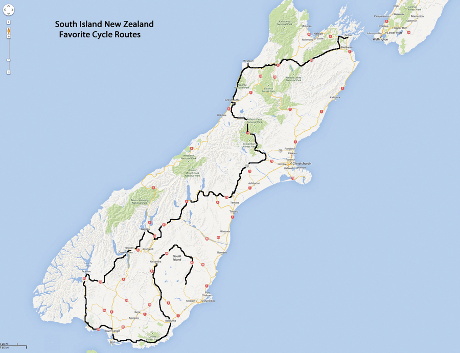 South Island Favorite Bicycle Touring Routes