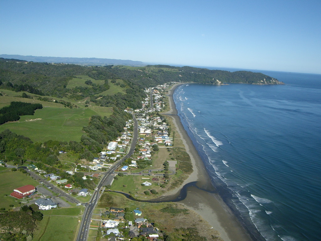 Bicycling North Island New Zealand-Aerial of Ohope Beach