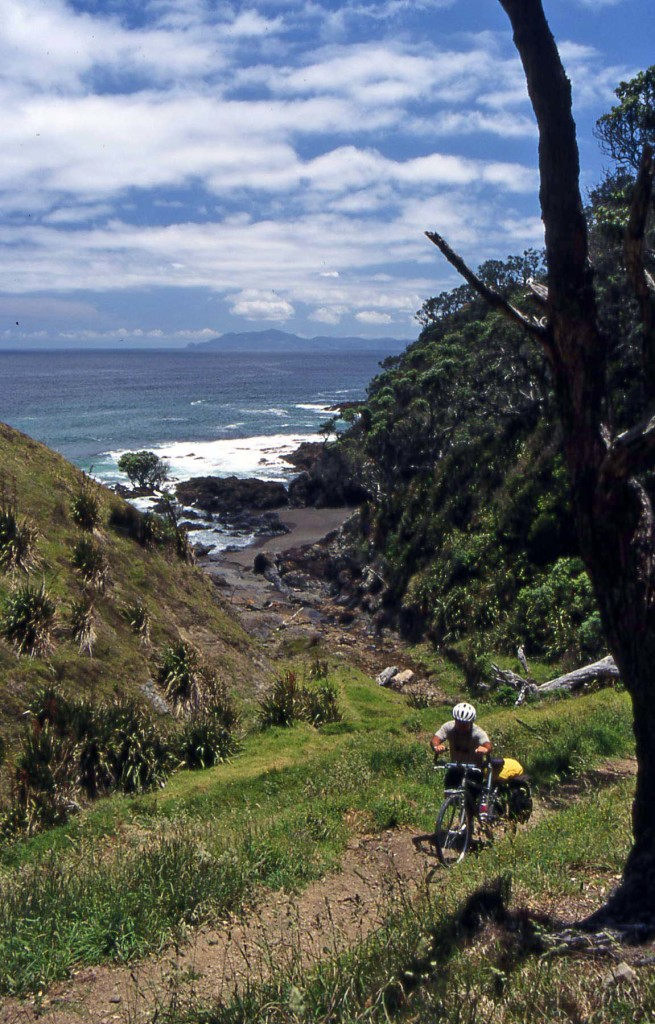 Bicycling North Island New Zealand-Coromandel Walkway-Pushing out of Poley Bay
