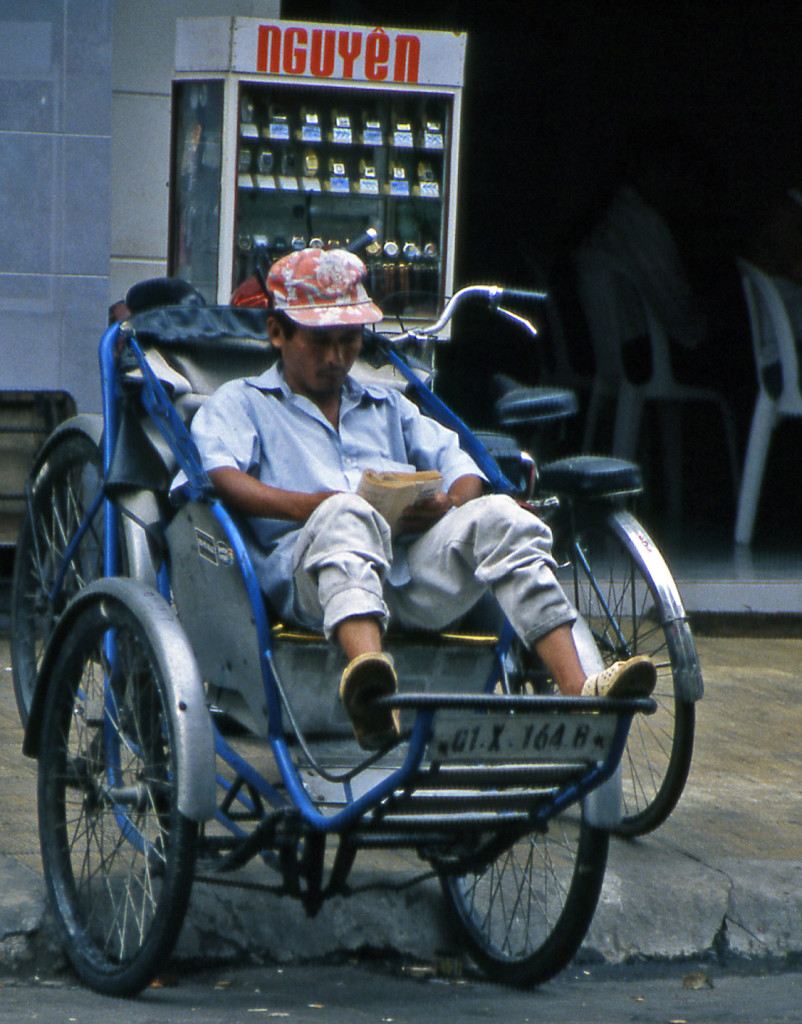 Bicycling Vietnam Bicycle taxi drivers are often men who lost their jobs to northern soldiers