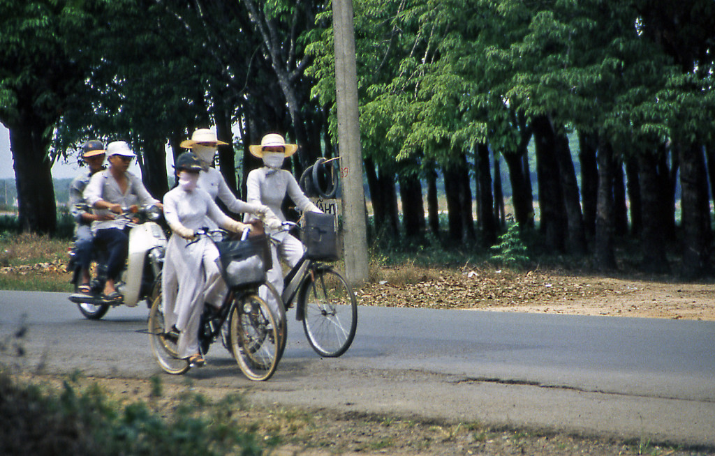 Bicycling Vietnam Young ladies on bicycles