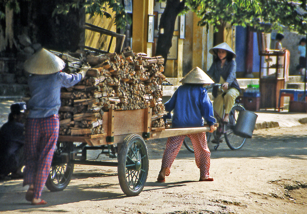 Bicycling Vietnam Heavy cart pulled by women