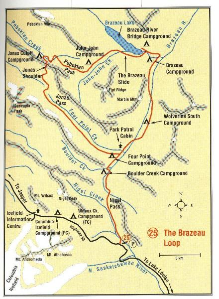 Brazeau Lake Loop Map