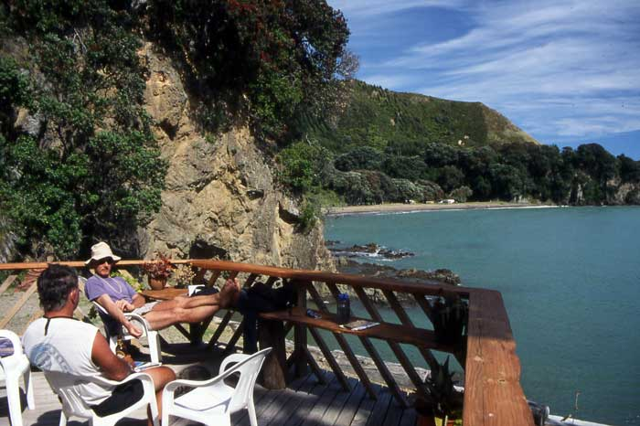 Bicycling North Island New Zealand-East Cape-Pehe's deck