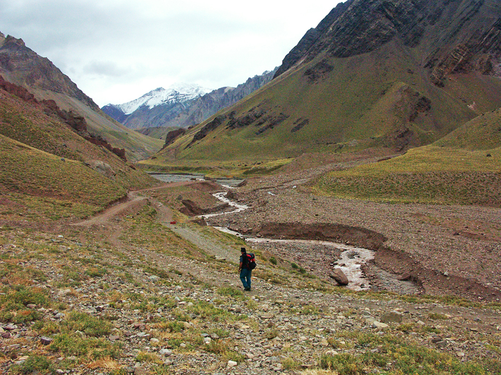 Hiking Aconcagua National Park-Rio Vacas has little water late in the summer