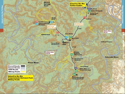 Hiking Arches-Canyonlands National Parks-Hiking Utah-Island in the Sky Trail Locator Map-