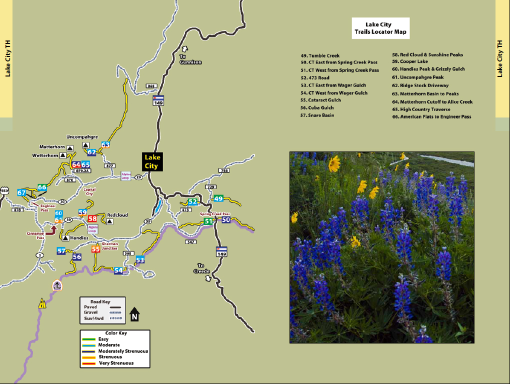 Hiking Ouray-Silverton-Lake City-Lake City Trail Locator map