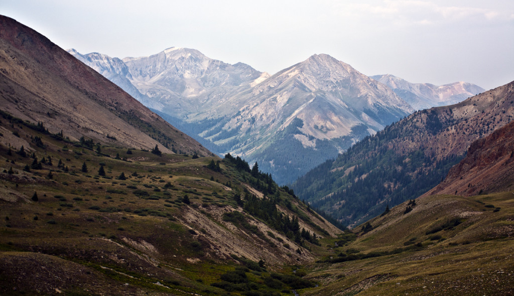 Hiking Ouray, Silverton & Lake City-View of Handies & Whitecross Mt from Redcloud trail
