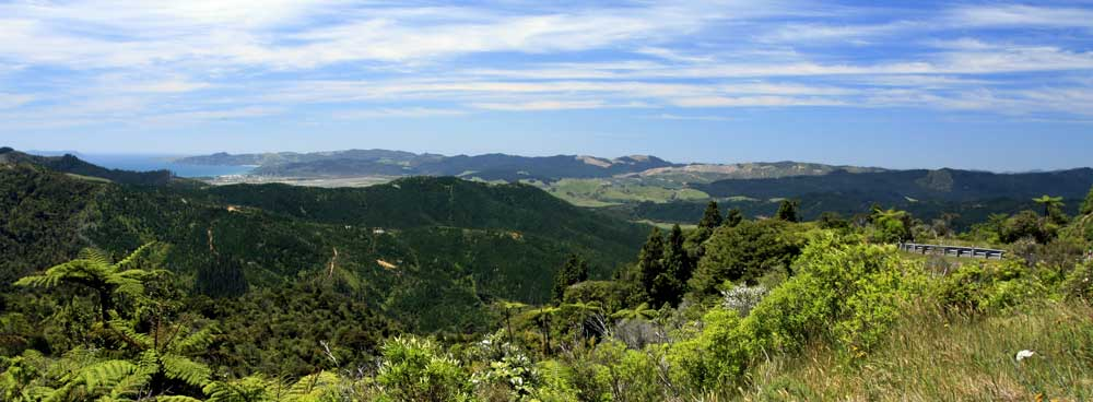 Bicycling North Island New Zealand-Coromandel Peninsula-View from the top of Whangapoua hill
