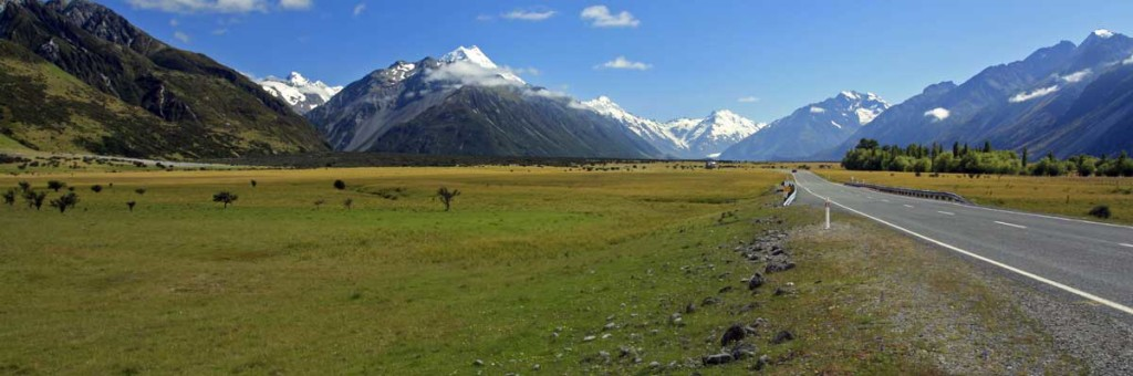 Bicycling South Island New Zealand-The road to Mount Cook