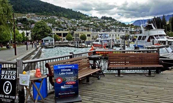 Bicycling South Island New Zealand-Queenstown Harbor