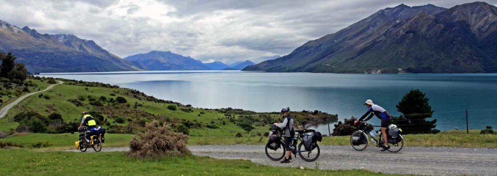 Bicycling South Island New Zealand-Lake Wakatipu from our route Walter Peak Station to Te Anau