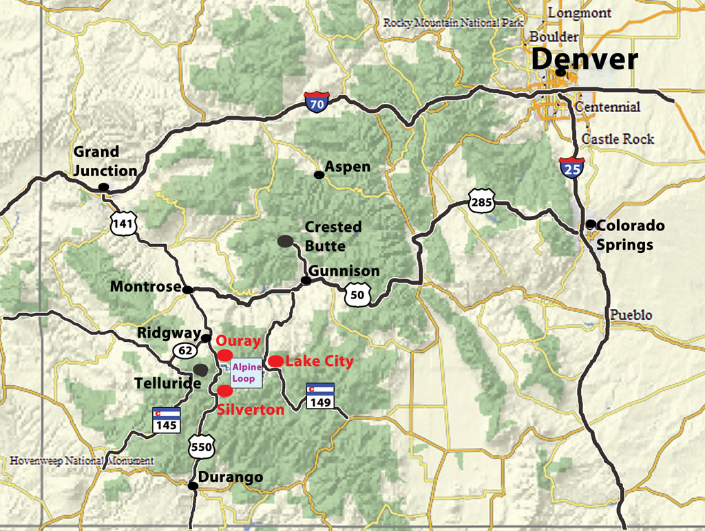Ouray_Silverton_Lake City Location Map