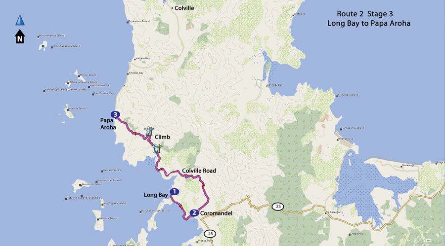 Bicycling North Island New Zealand-Route 2 Coromandel to Papa Aroha map