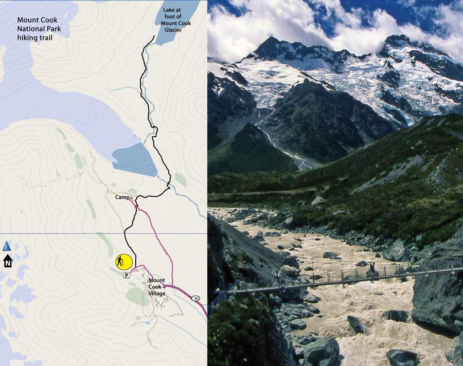 Mt Cook National Park trail map & Photo