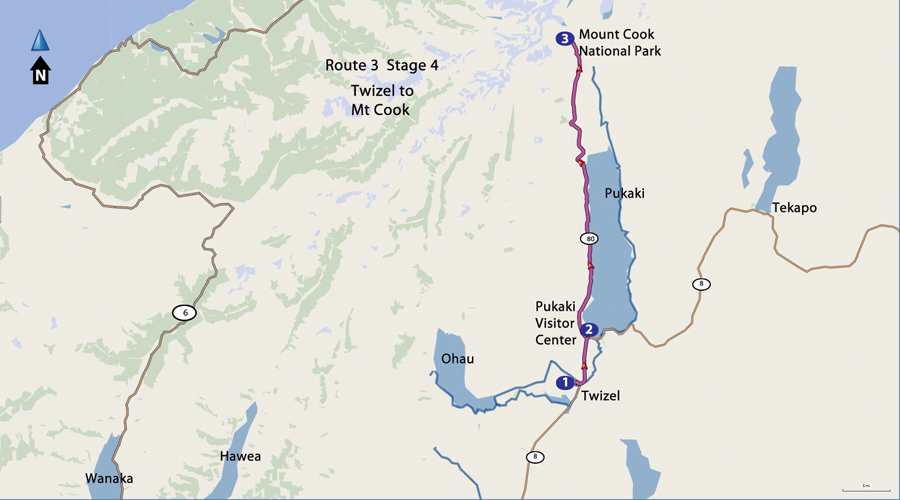 Twizel to Mt Cook Park on paved Hwy 80-map
