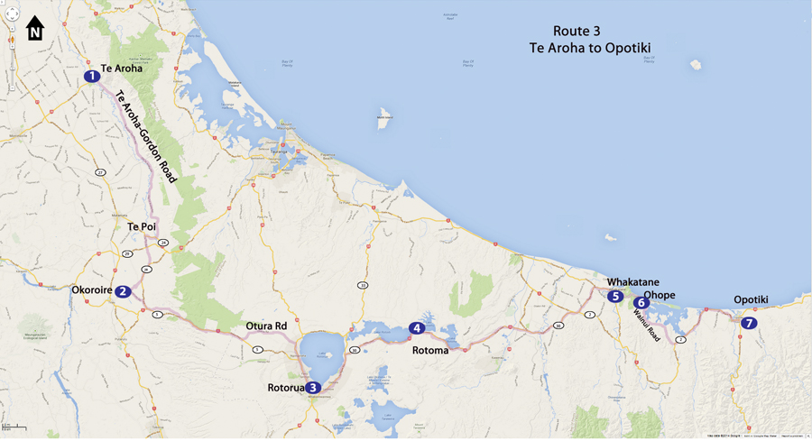 Bicycling North Island New Zealand-Route 3 Te Aroha to Opotiki Map