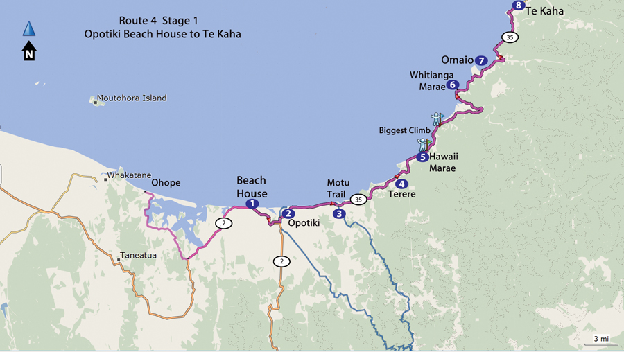 Bicycling North Island New Zealand-East Cape-Route 4- Opotiki Beach House to Te Kaha Map
