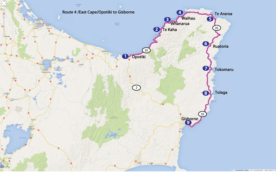 Bicycling North Island New Zealand-East Cape-Route 4 Map