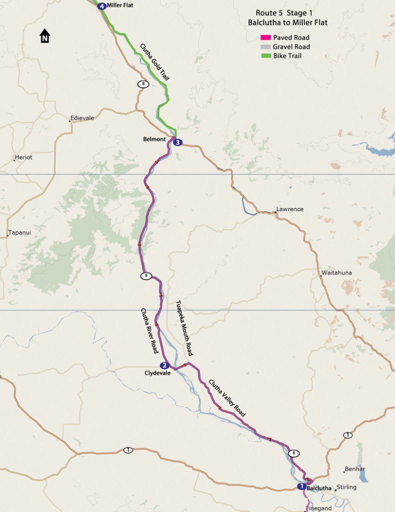 Route 5-1 Balclutha to Miller Flat map