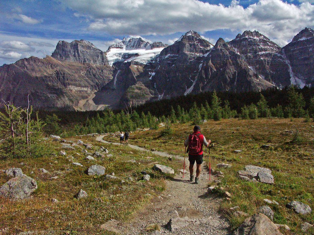 Hiking Biking Adventures-Sentinel-Pass Trail-Views of the Ten Peaks from Larch Valley