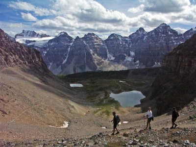 Hiking Canada-Sentinel-Pass Trail-Descending into Larch Valley from Sentinal Pass