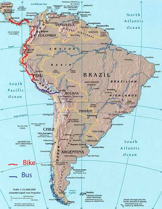 Bicycling Central and South America-Map