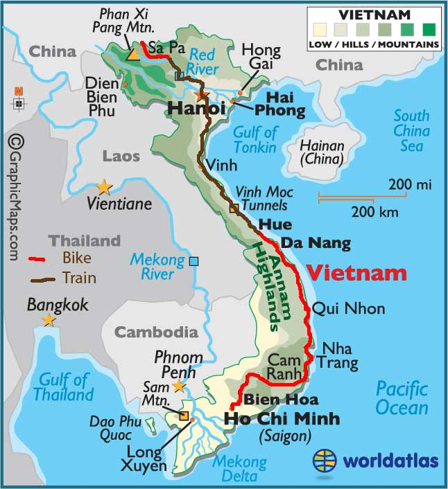 Bicycling Vietnam Map of our route