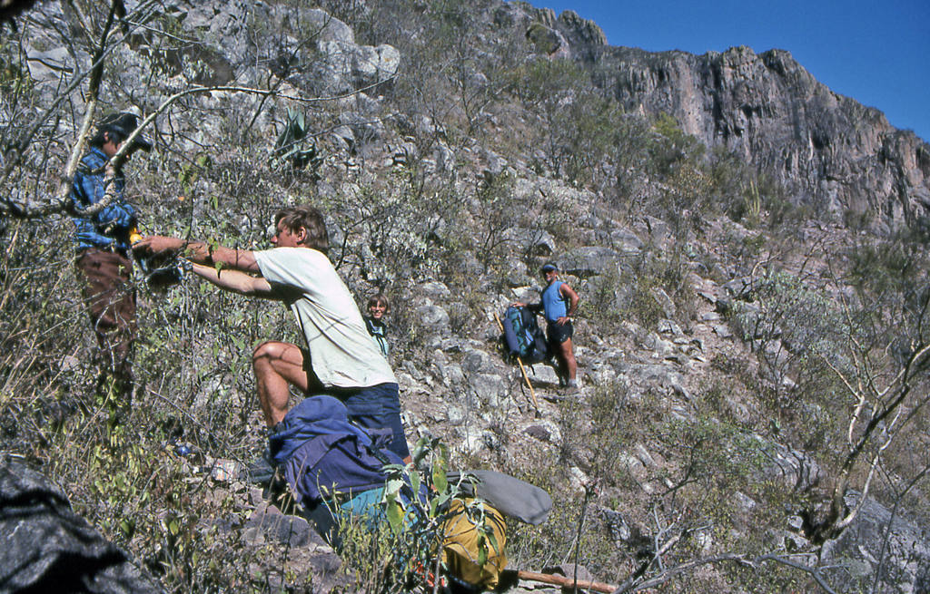 Hiking Copper Canyon-Tarahumara boy sells us apples