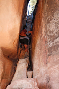 Hiking Adventures-Utah-Ladders are essential parts of the trails in Arches & Canyonlands