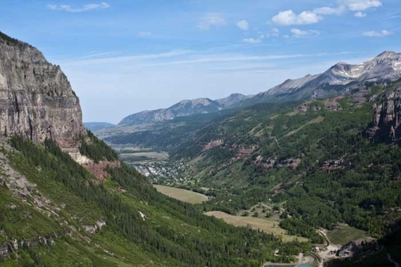 Hiking Telluride_View of Telluride from top of Bridal Veil Falls Road