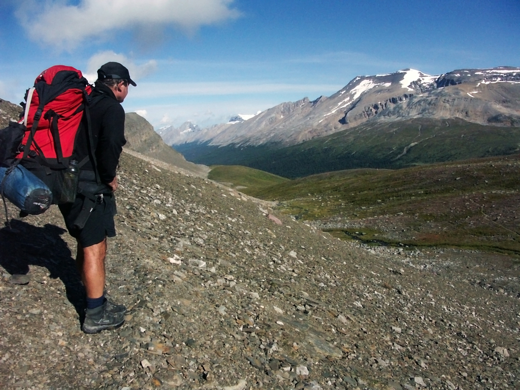 Brazeau Lake Loop-View from Jonas Shoulder towards Jonas Camp
