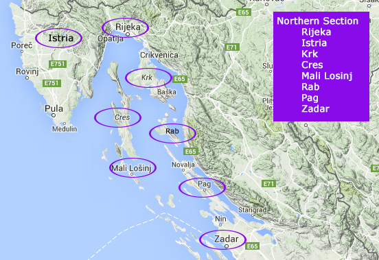 Detailed Map Of Croatian Islands Cycle Tour Croatia Islands Routes/Maps/Download Gps Tracks